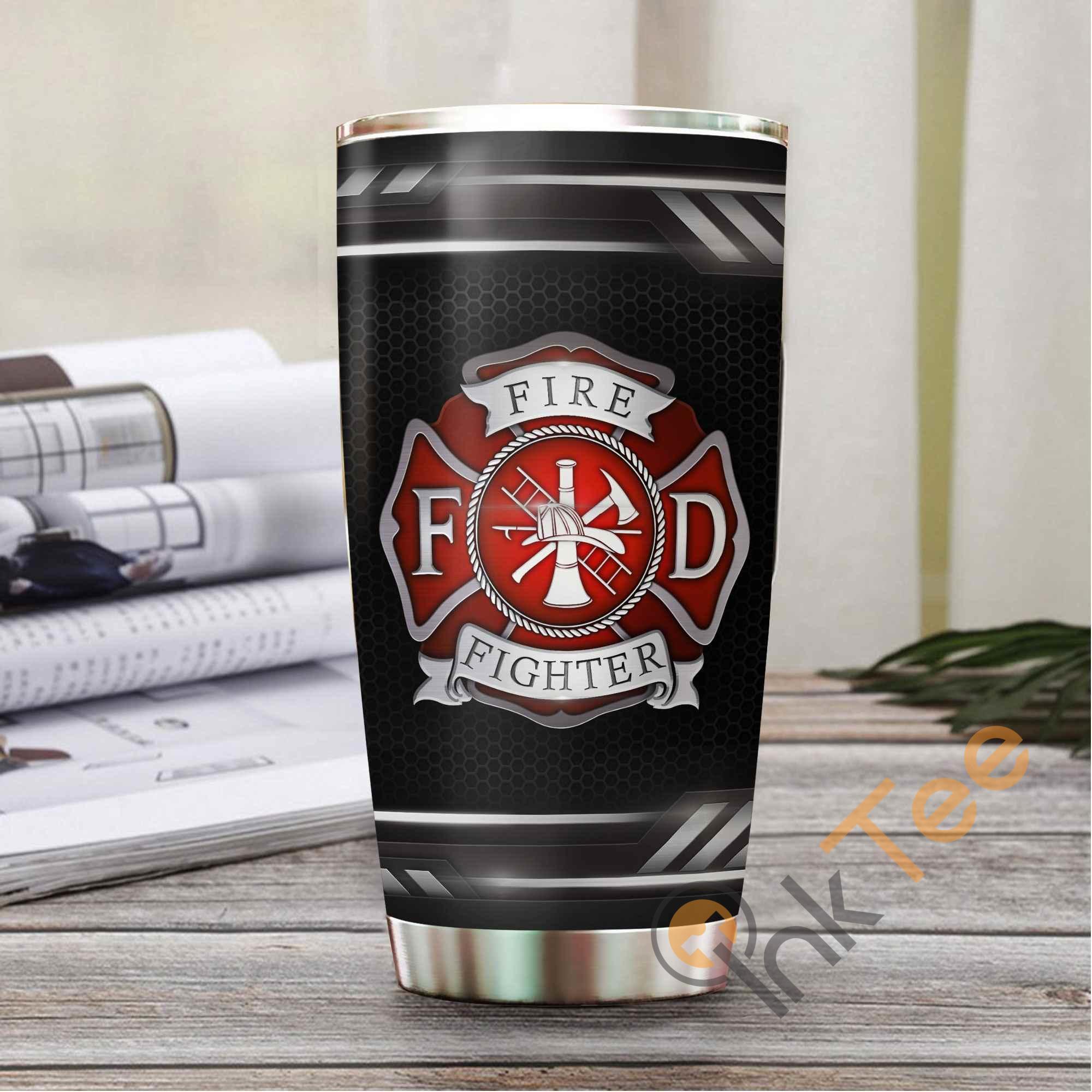 Firefighter Logo Metal Stainless Steel Tumbler