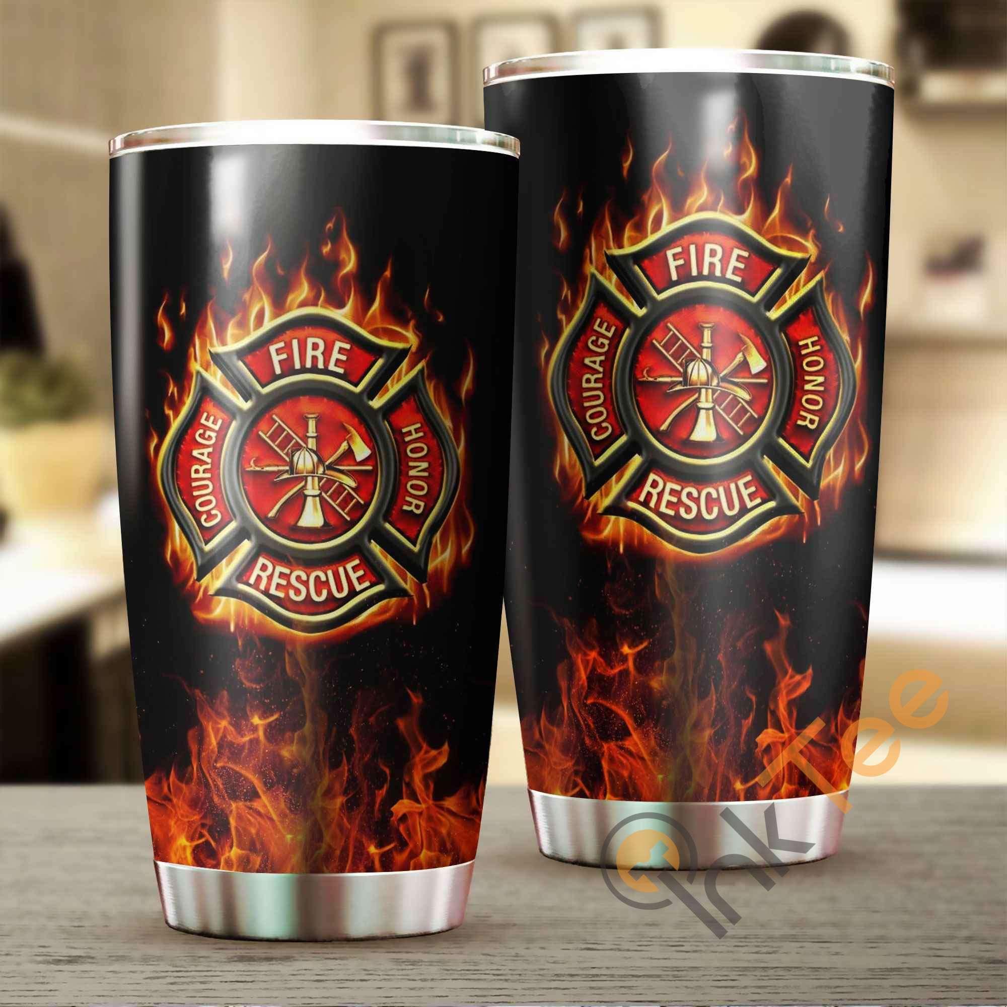 Firefighter Logo Stainless Steel Tumbler