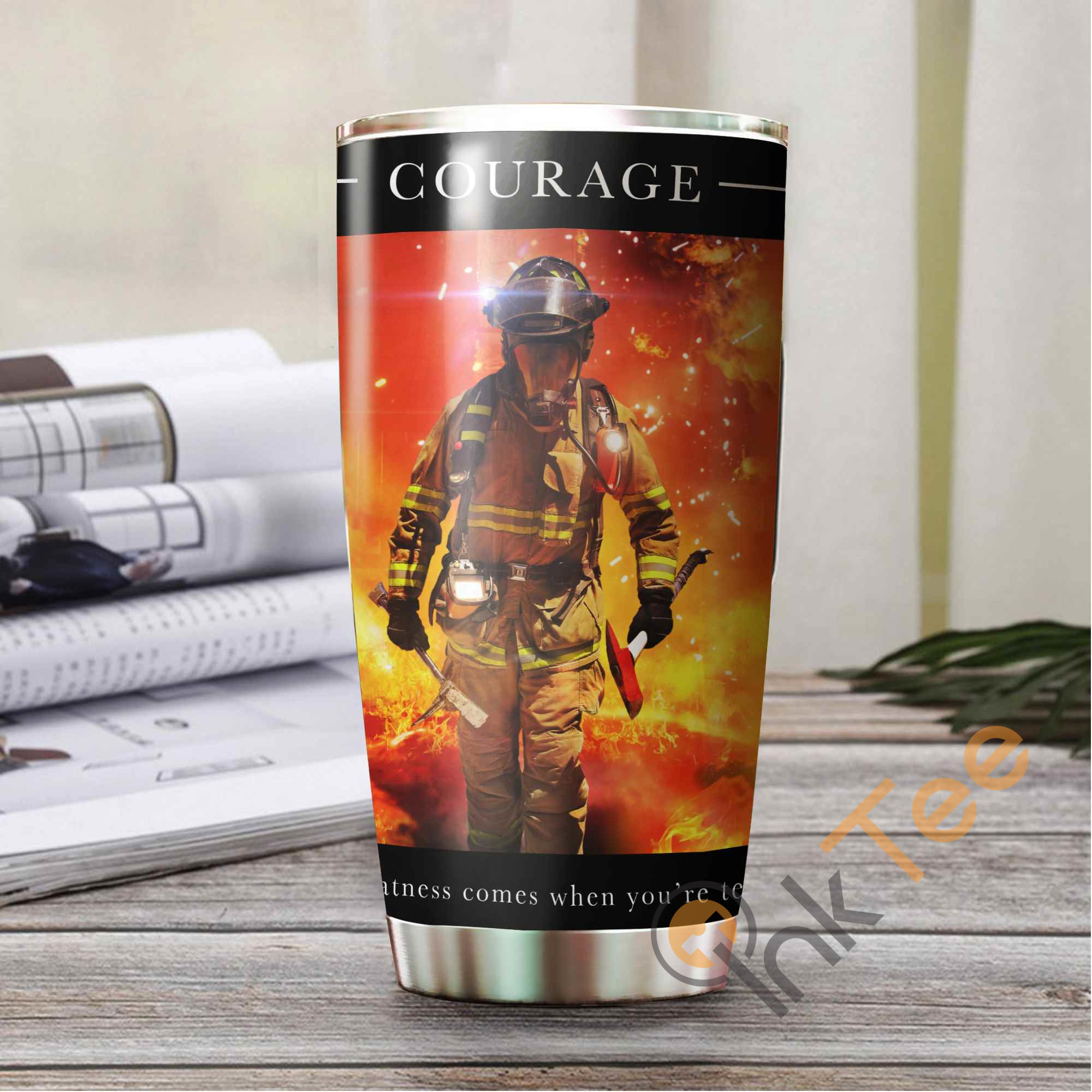 Firefighter's Courage Amazon Best Seller Sku 3588 Stainless Steel Tumbler