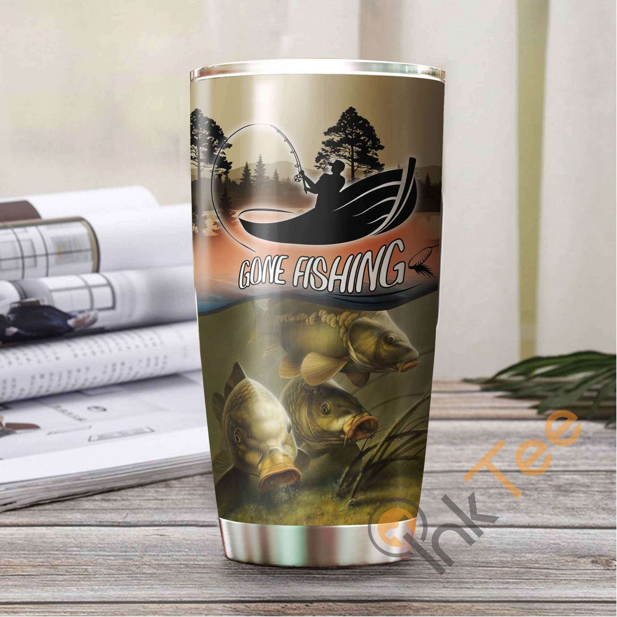 Fishing Man Amazon Best Seller Sku 3454 Stainless Steel Tumbler