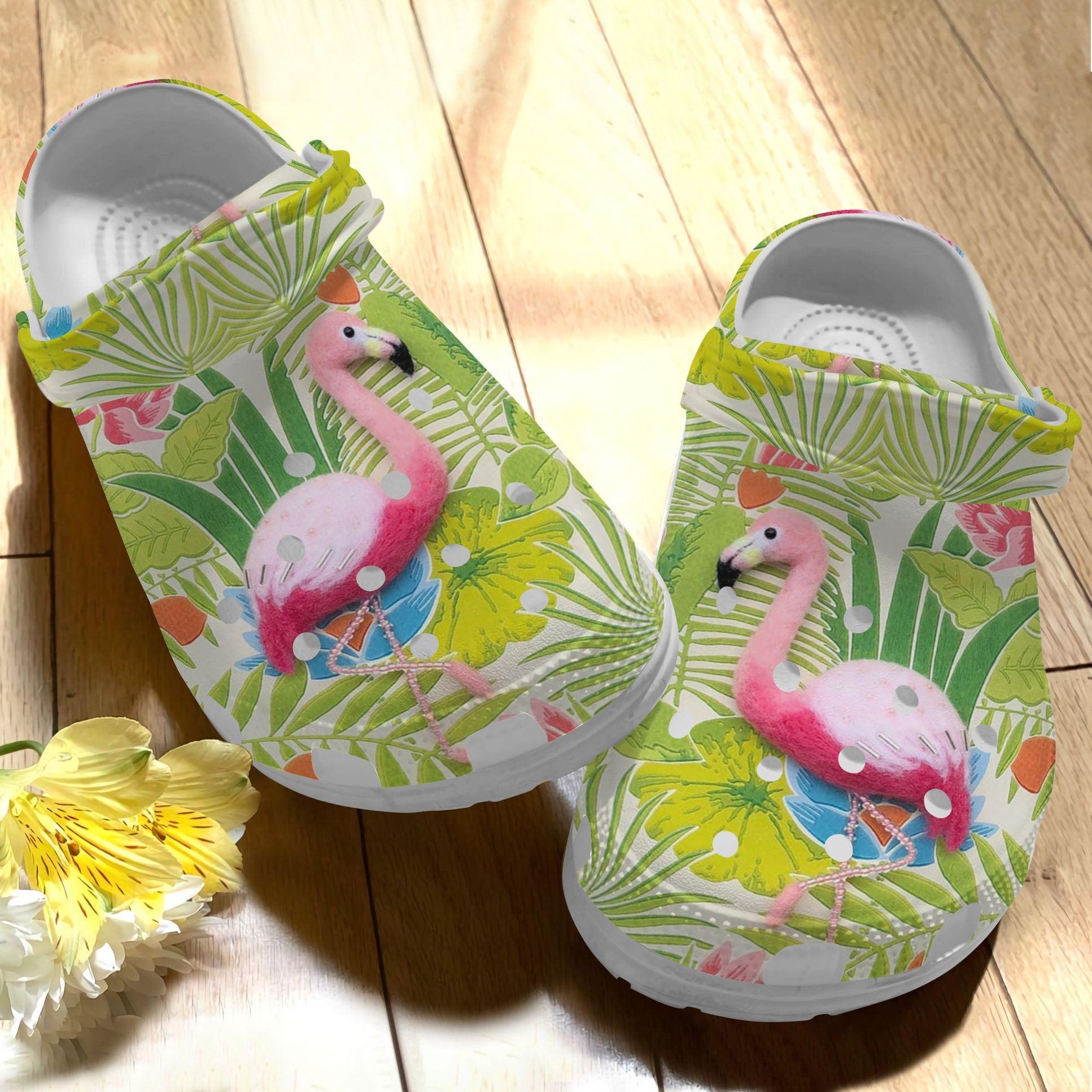 Flamingo Flower Crocs Clog Shoes