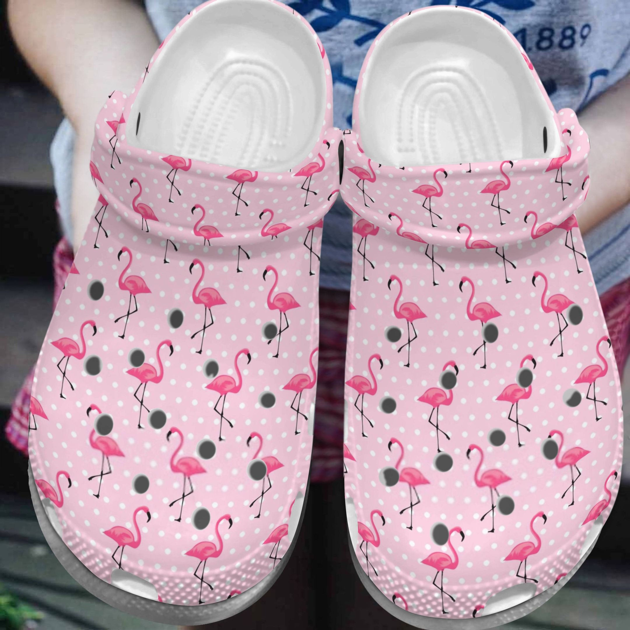Flamingo Pinky Pattern Crocs Clog Shoes