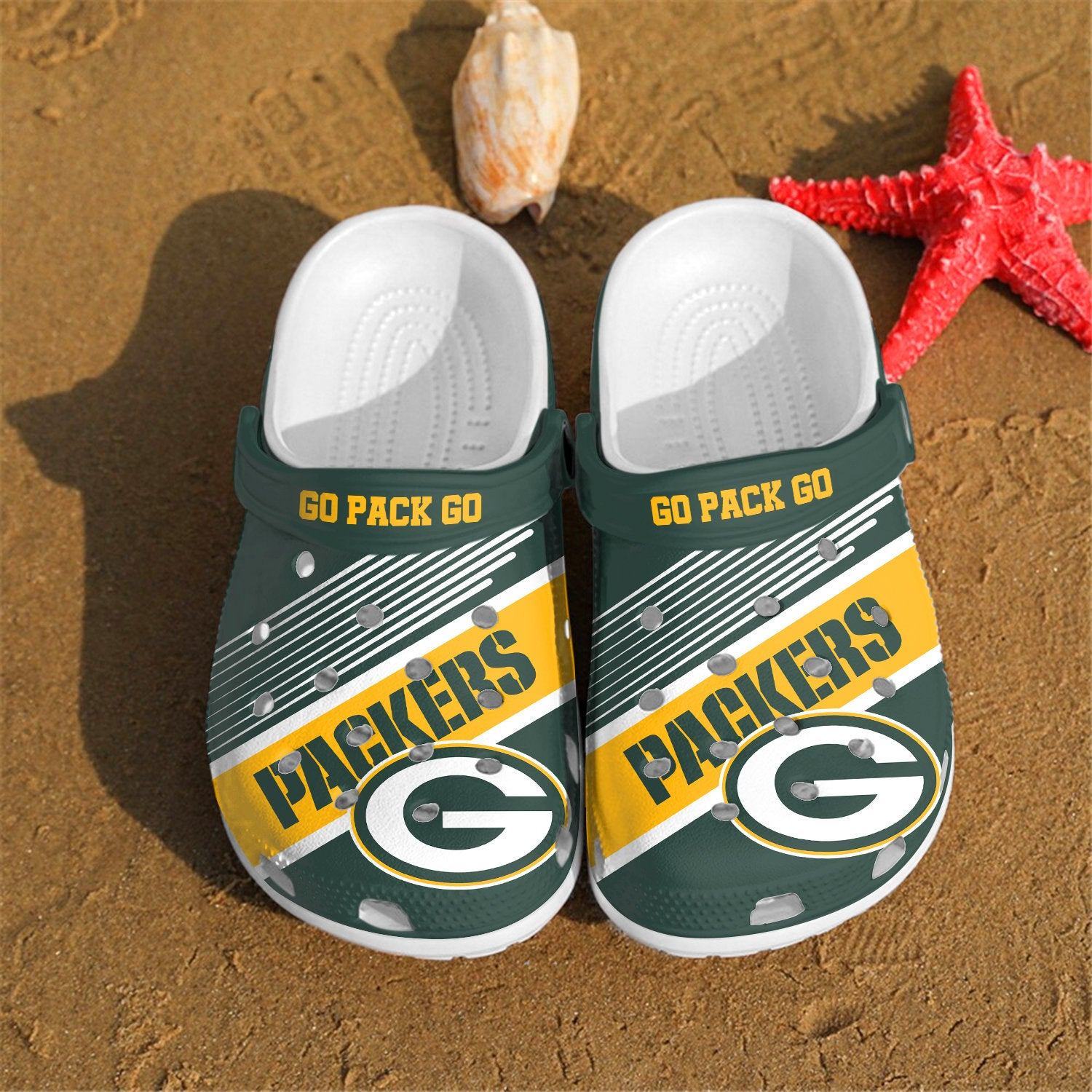 Green Bay Packers Go Pack Go Custom For Nfl Fans Crocs Clog Shoes