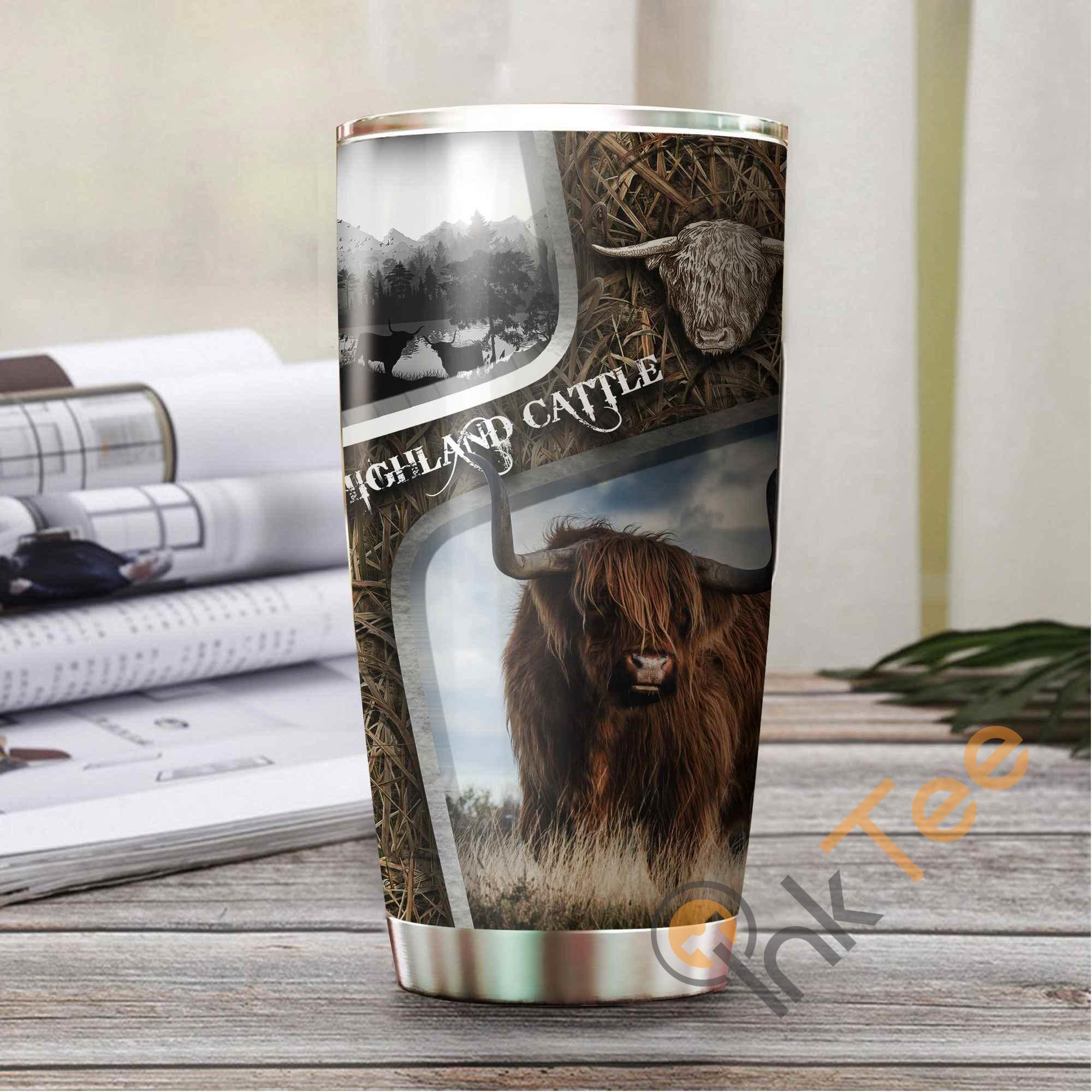 Highland Cattle Camo Amazon Best Seller Sku 3034 Stainless Steel Tumbler