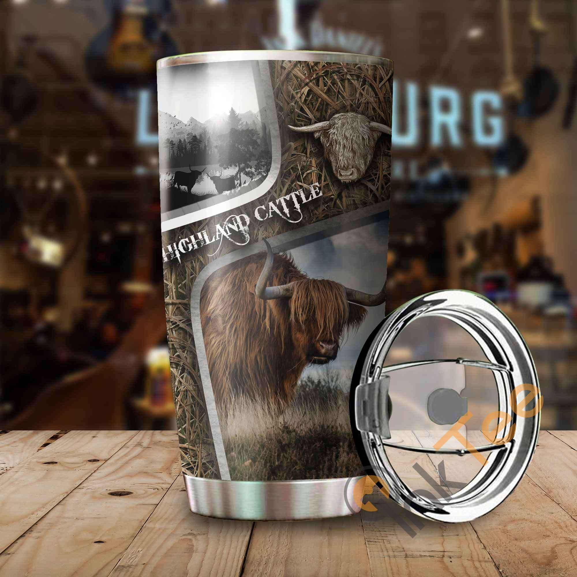 Highland Cattle Camo Amazon Best Seller Sku 3087 Stainless Steel Tumbler