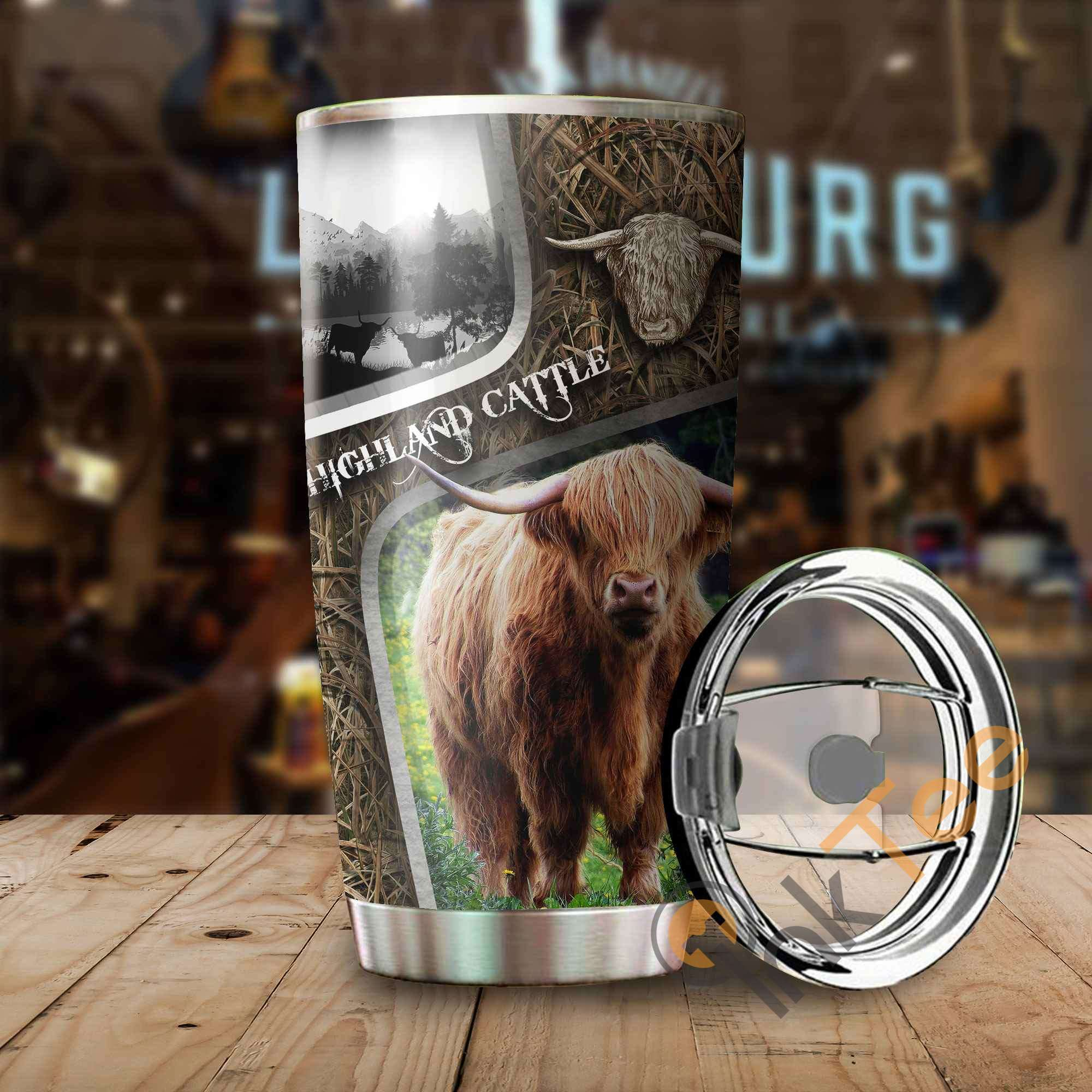 Highland Cattle Camo Amazon Best Seller Sku 3583 Stainless Steel Tumbler