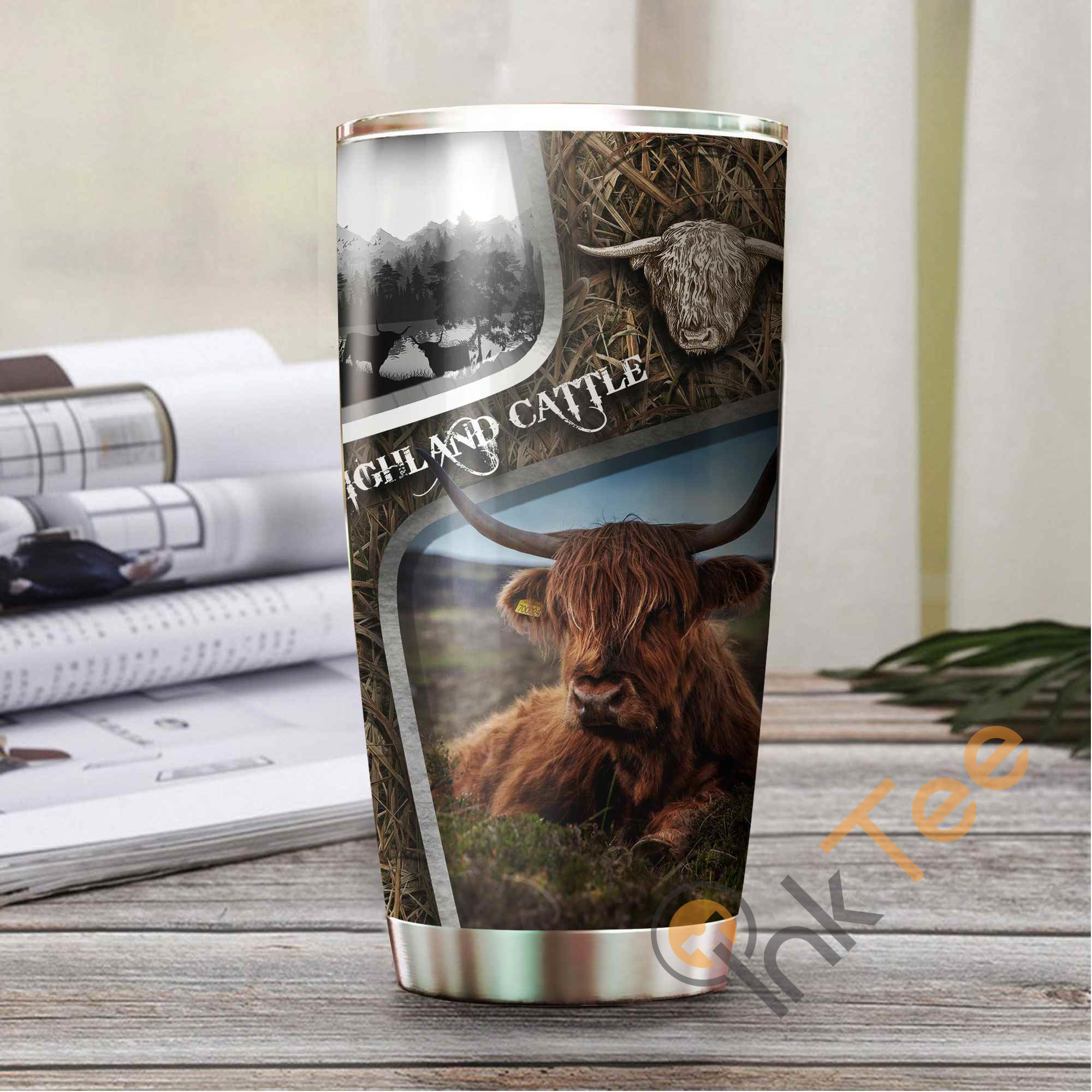 Highland Cattle Camo Stainless Steel Tumbler