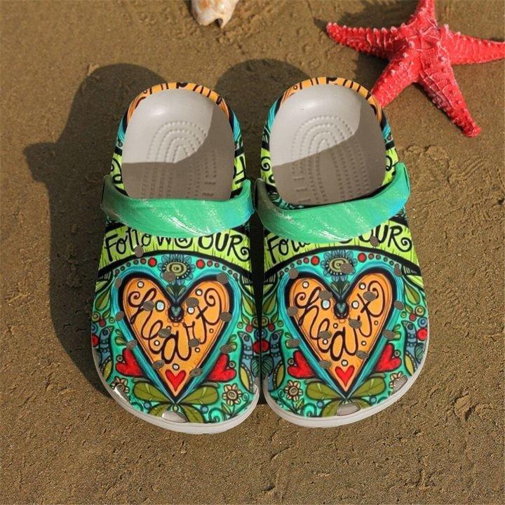 Hippie Follow Your Heart Crocs Clog Shoes