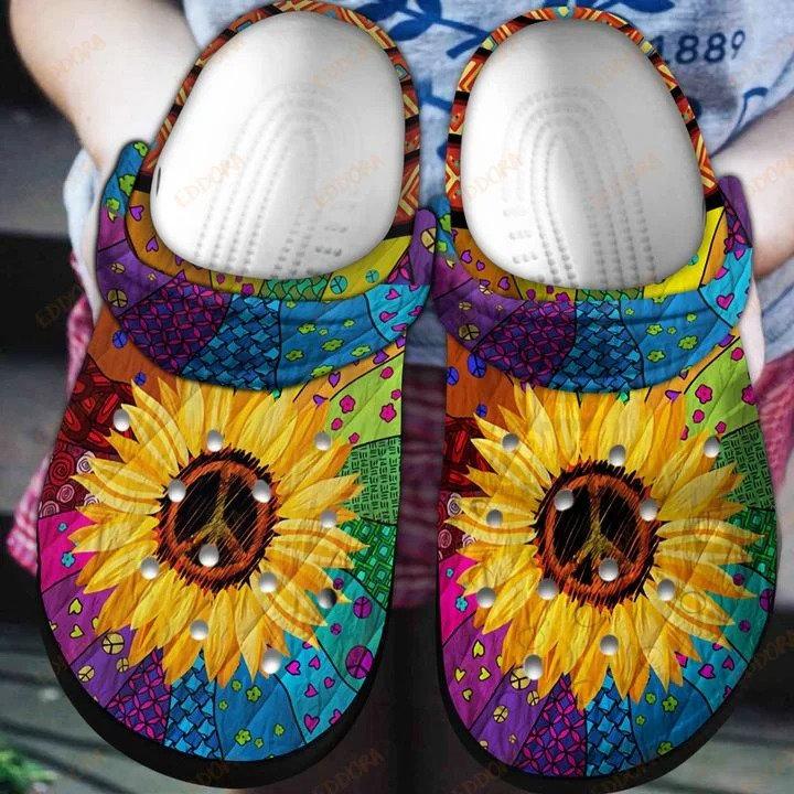 Hippie Sunflower Crocs Clog Shoes