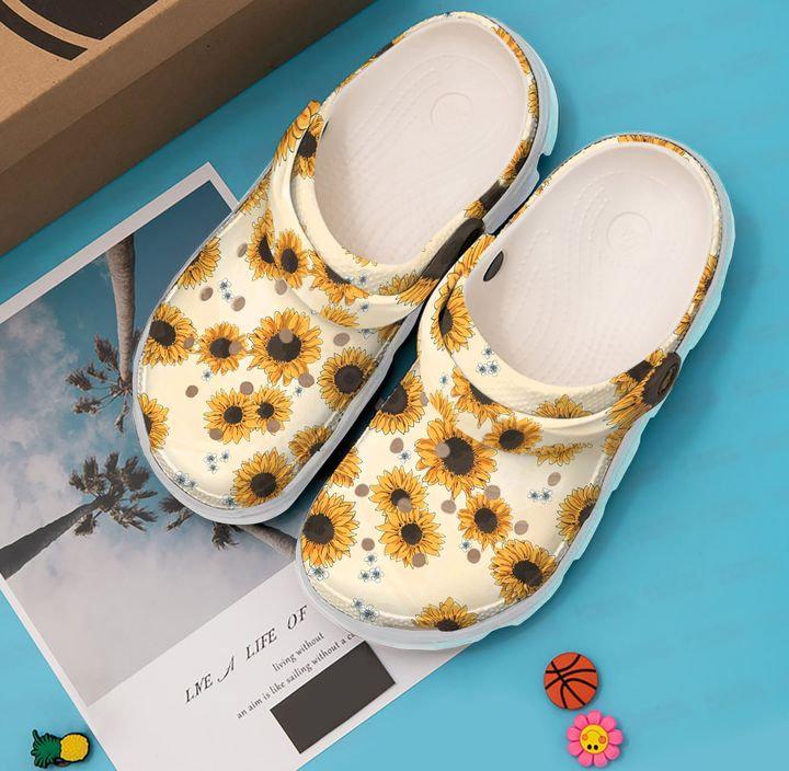 Hippie Sunflower Pattern Crocs Clog Shoes