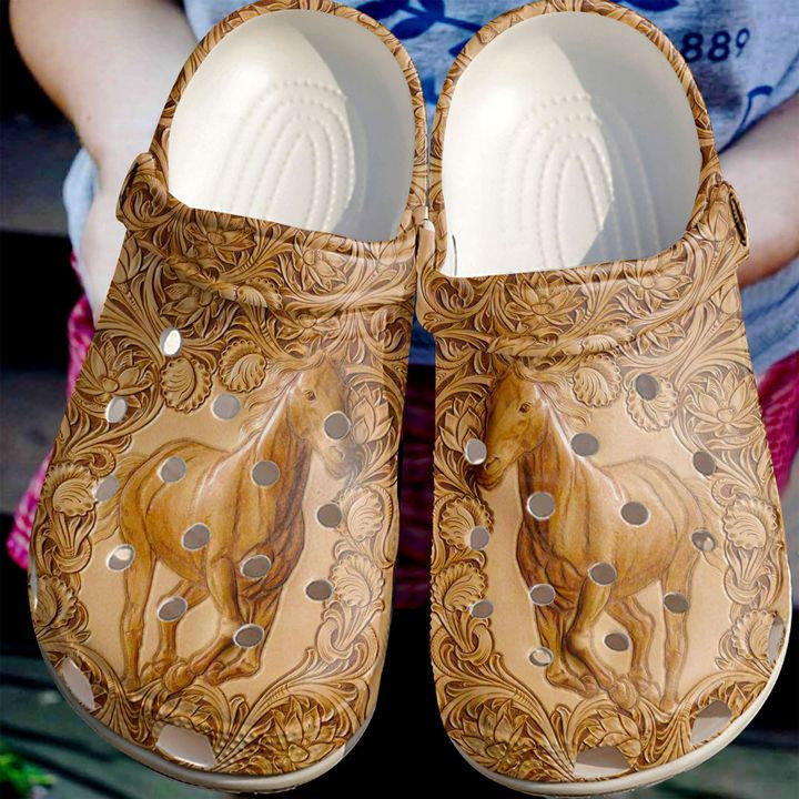Horse Leather Crocs Clog Shoes