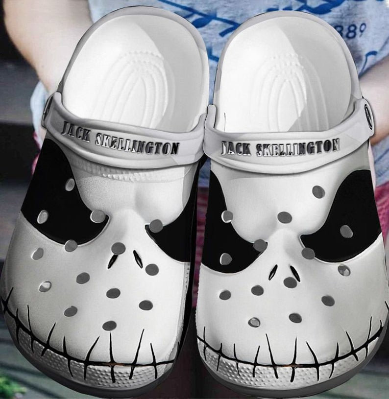 Jack Skellington Face Crocs Clog Shoes
