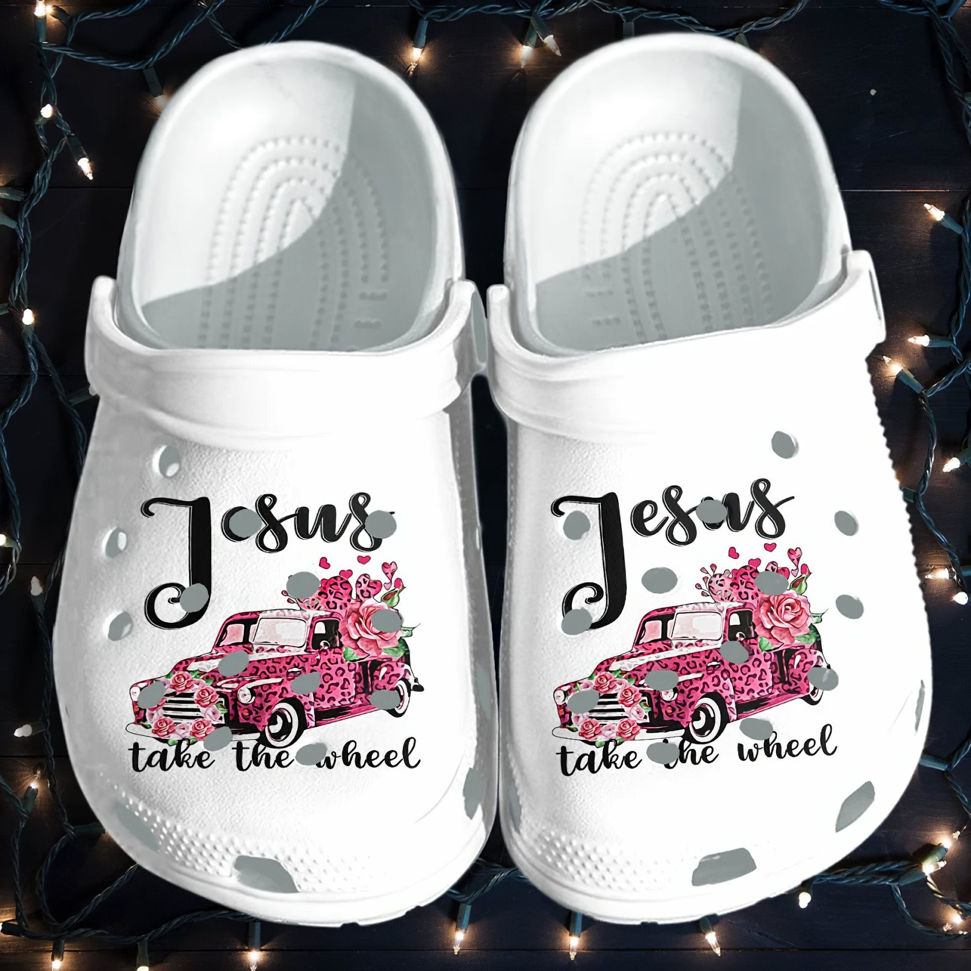 Jesus Faith Take The Wheel Pink Car For Mothers Day 2021 Crocs Clog Shoes