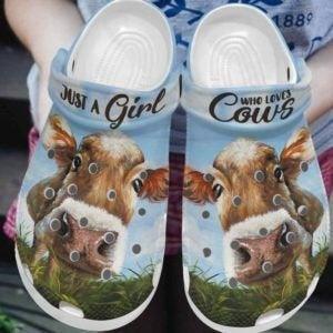 Just A Girl Love Cow Farmer Crocs Clog Shoes
