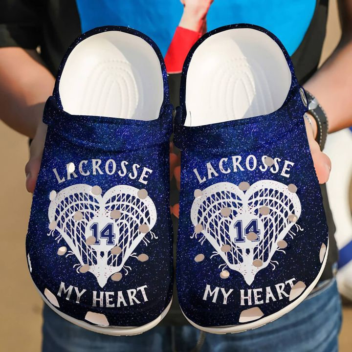 Lacrosse Personalized Heart Crocs Clog Shoes