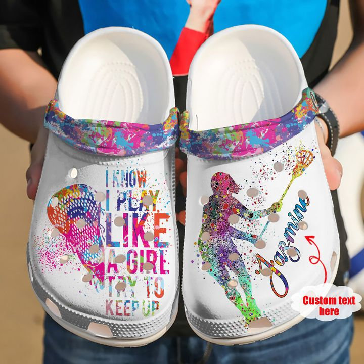 Lacrosse Personalized Try To Keep Up Crocs Clog Shoes