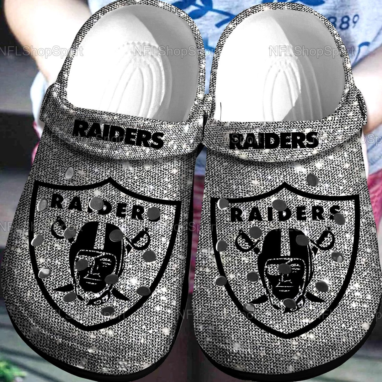 Las Vegas Raiders Nfl Band Crocs Clog Shoes