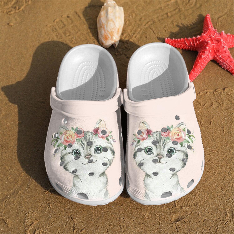 Little Cat Flowers Crocs Clog Shoes