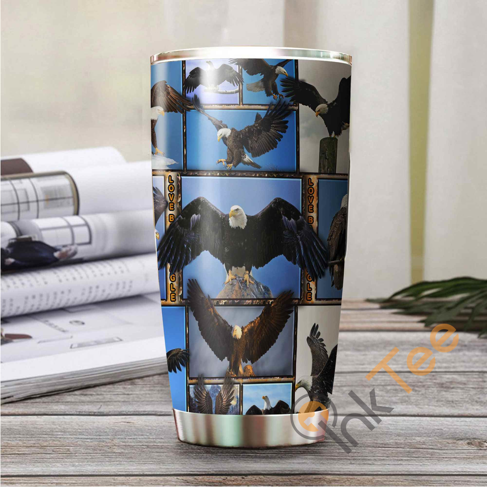 Love Bald Eagle Stainless Steel Tumbler