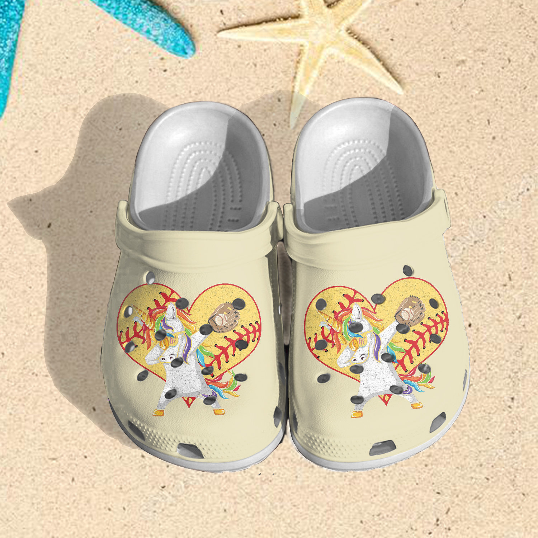 Love Unicorn Softball Crocs Clog Shoes