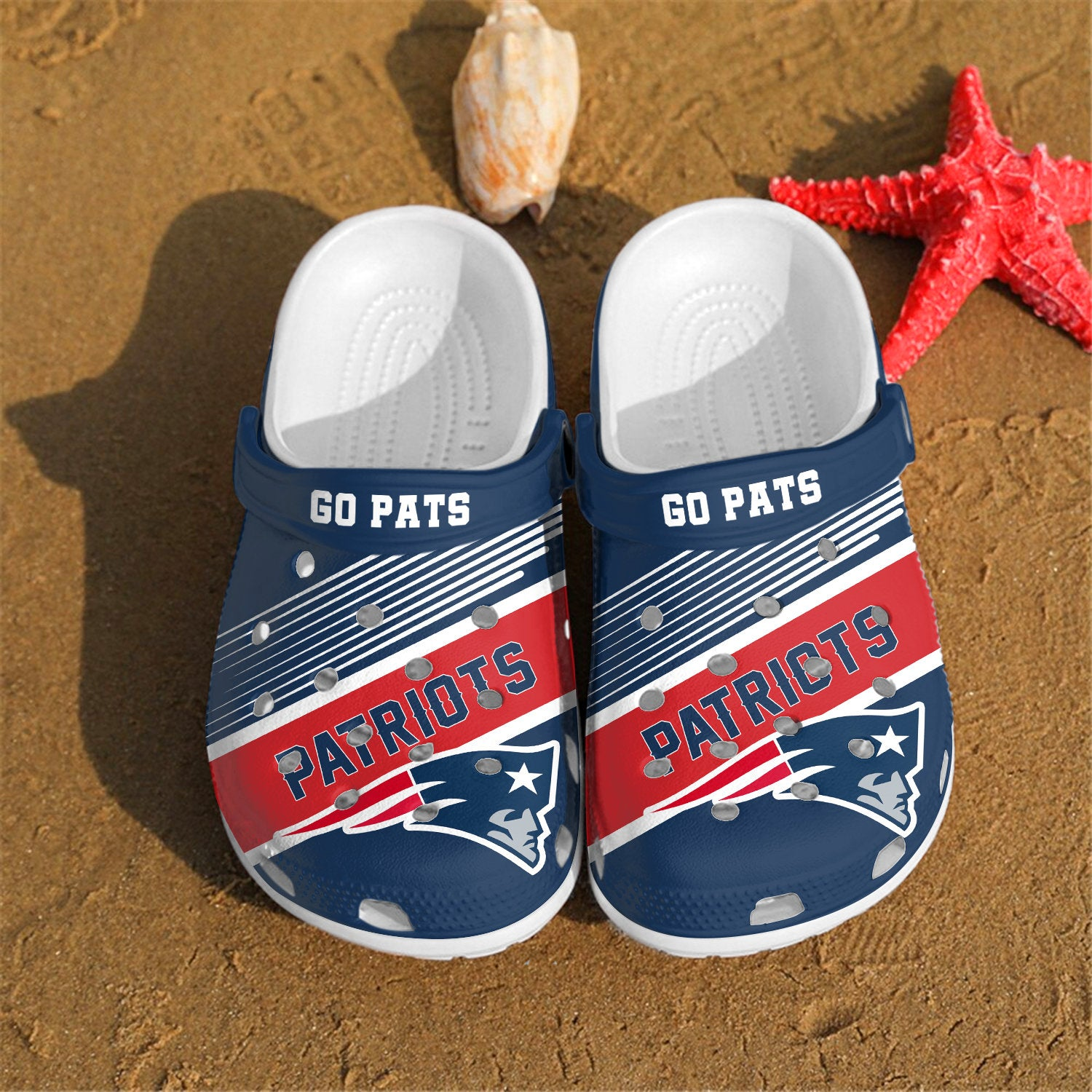 New England Patriots Go Pats Custom For Nfl Fans Crocs Clog Shoes