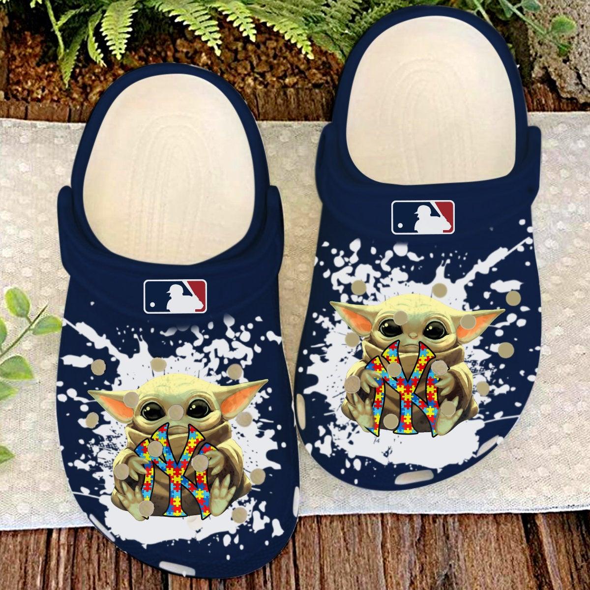 New York Yankees Ny Baby Yoda Autism Crocs Clog Shoes