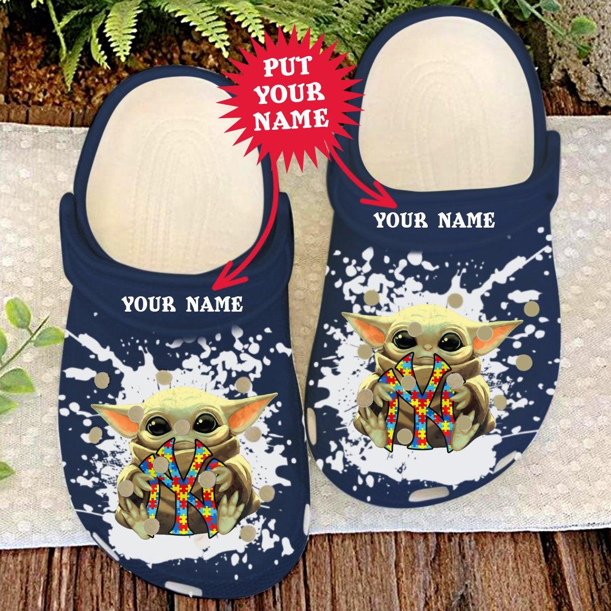 New York Yankees Personalisation Ny Baby Yoda Autism Crocs Clog Shoes