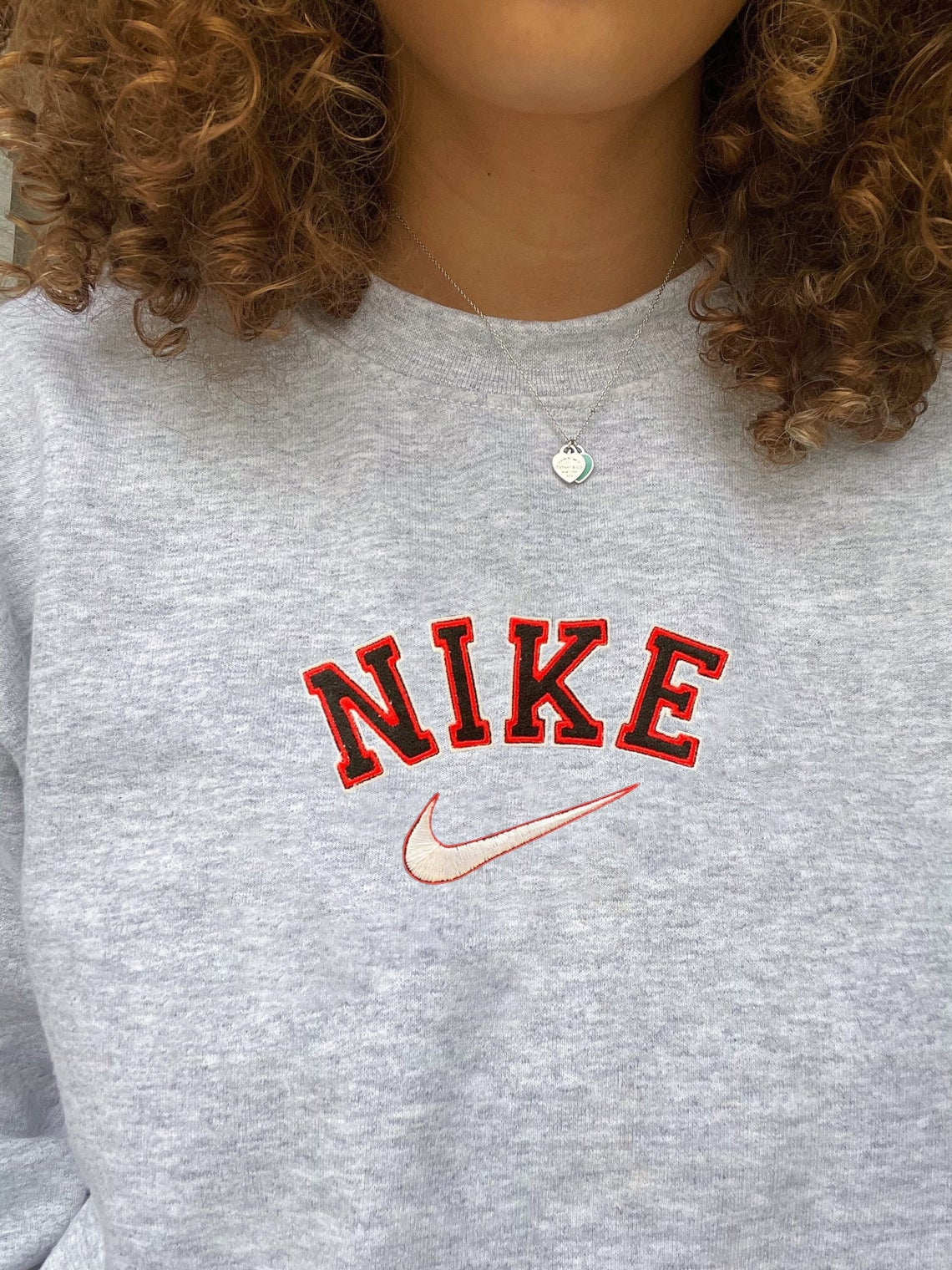 Nike 90s Vintage Spellout Embroidered Swoosh Sweatshirt/t-shirt/hoodie Embroidery