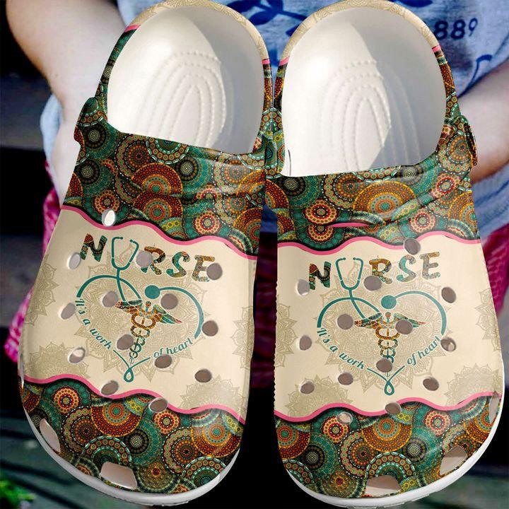 Nurse A Work Of Heart Crocs Clog Shoes
