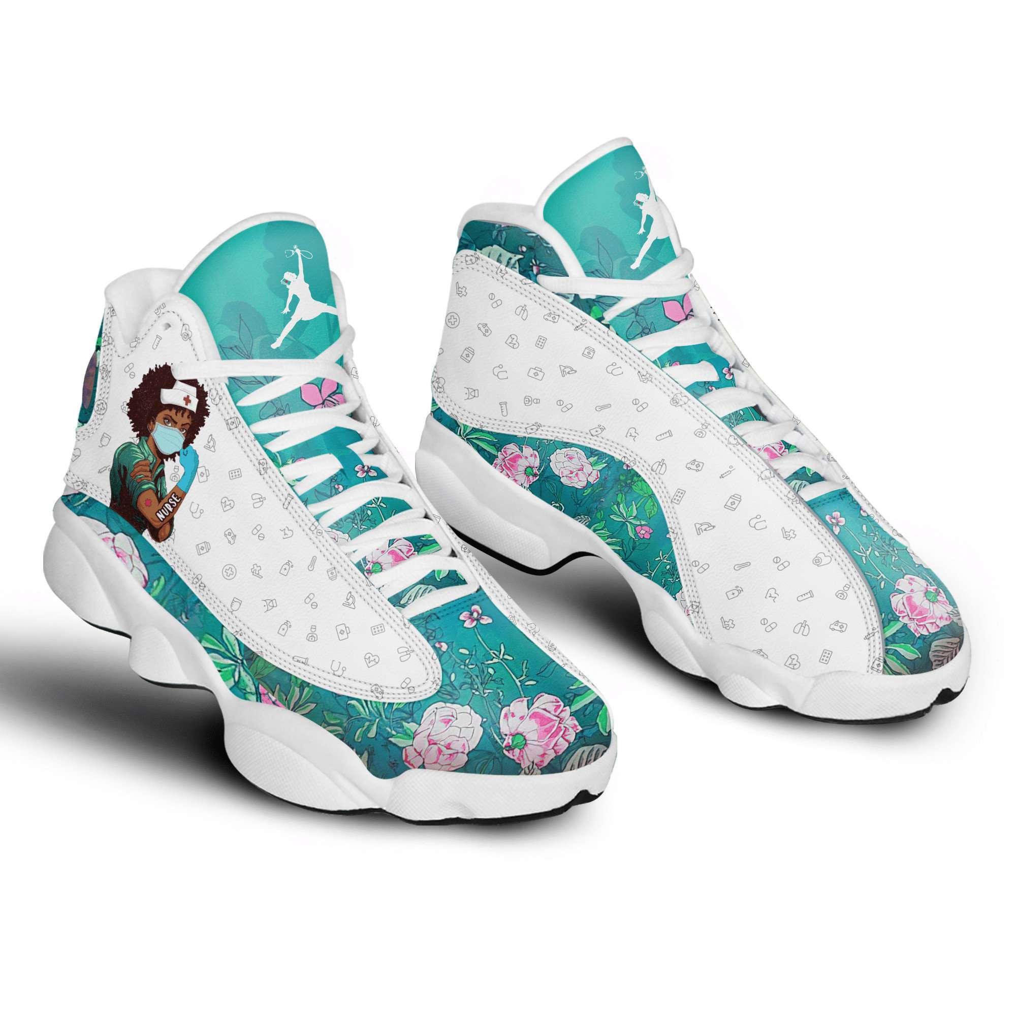 Nurse Floral Melanated Air Jordan Shoes
