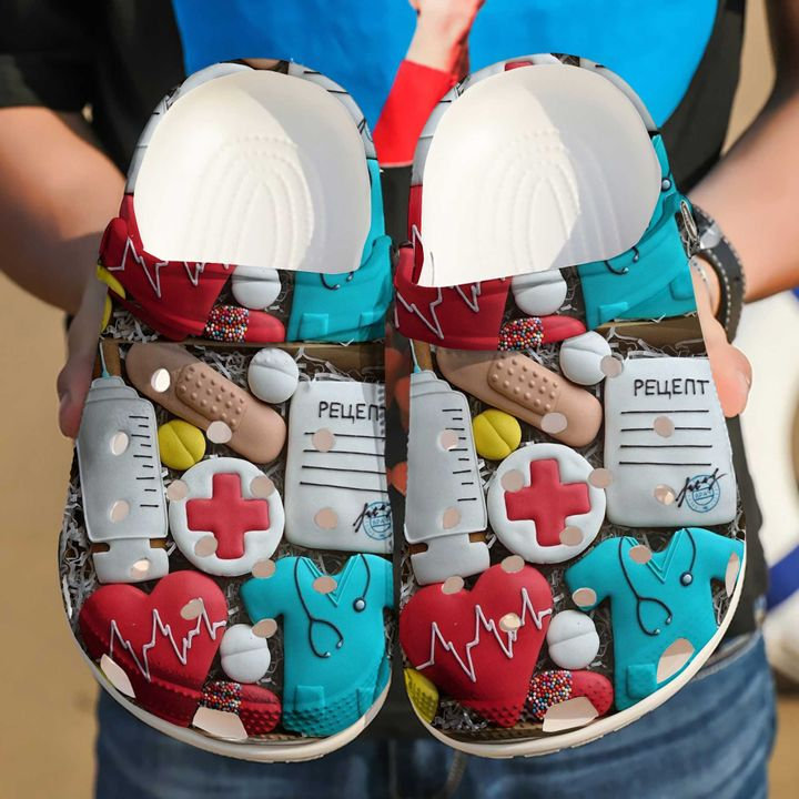 Nurse Heart Crocs Clog Shoes