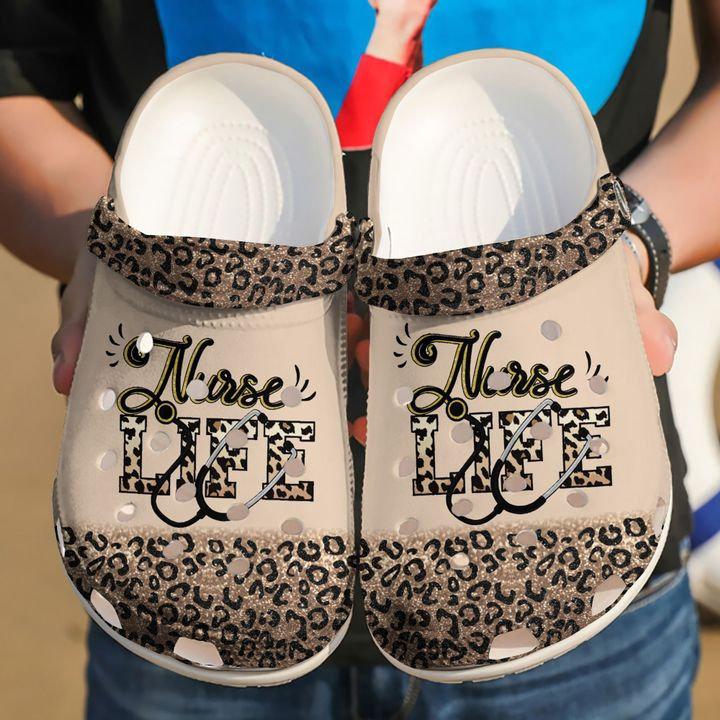 Nurse Nursing Life Cheetah Crocs Clog Shoes