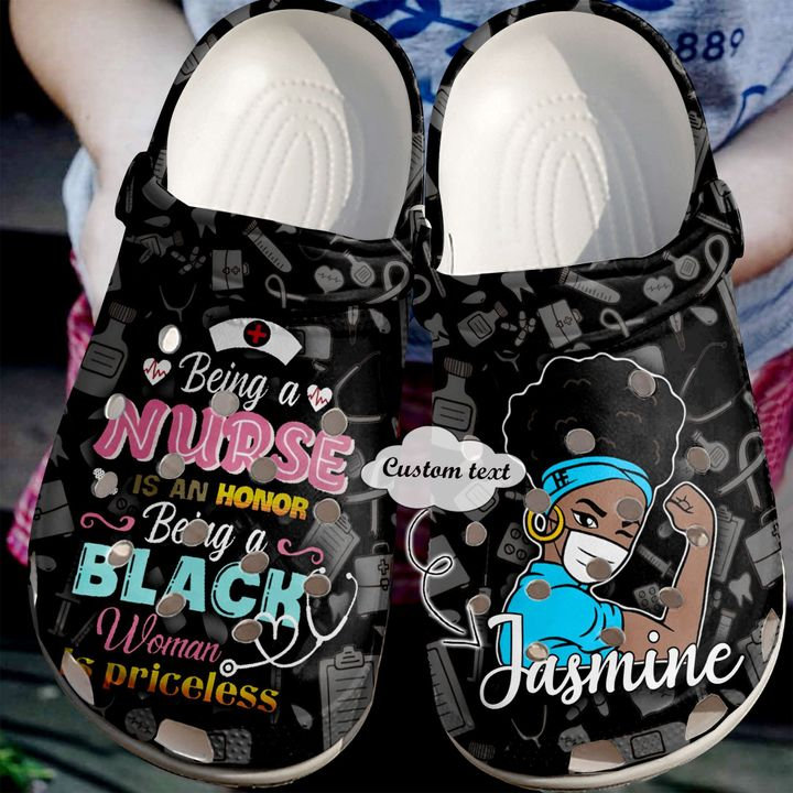 Nurse Personalized Black Crocs Clog Shoes