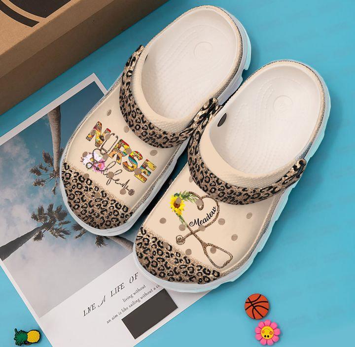 Nurse Personalized Life Leopard Crocs Clog Shoes