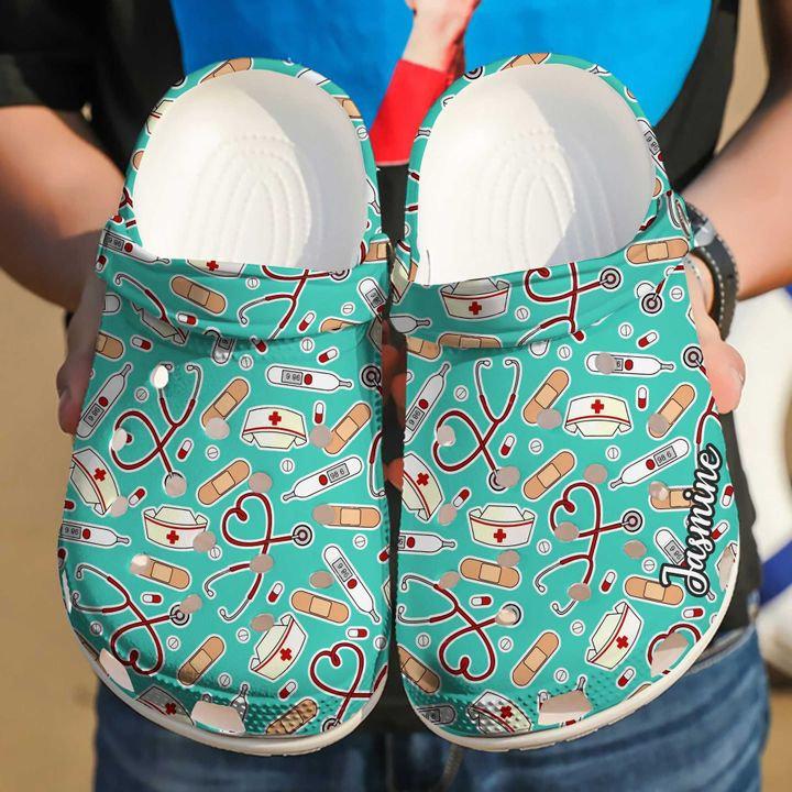 Nurse Personalized Medical Patterns Crocs Clog Shoes