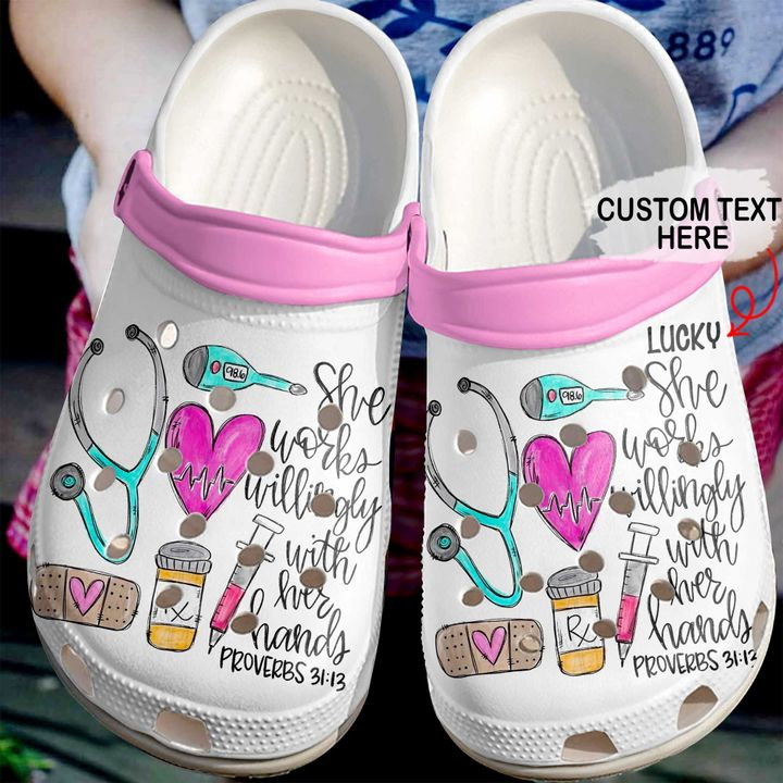 Nurse Personalized She Works Willingly Crocs Clog Shoes