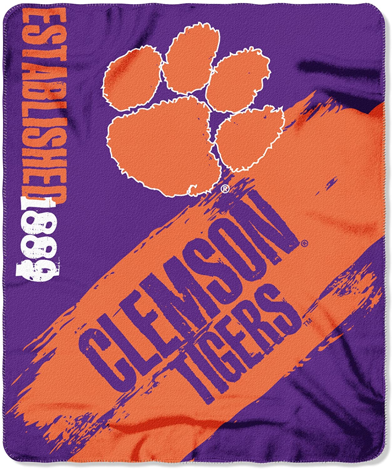 Officially Licensed Ncaa Printed Throw Clemson Tigers Fleece Blanket