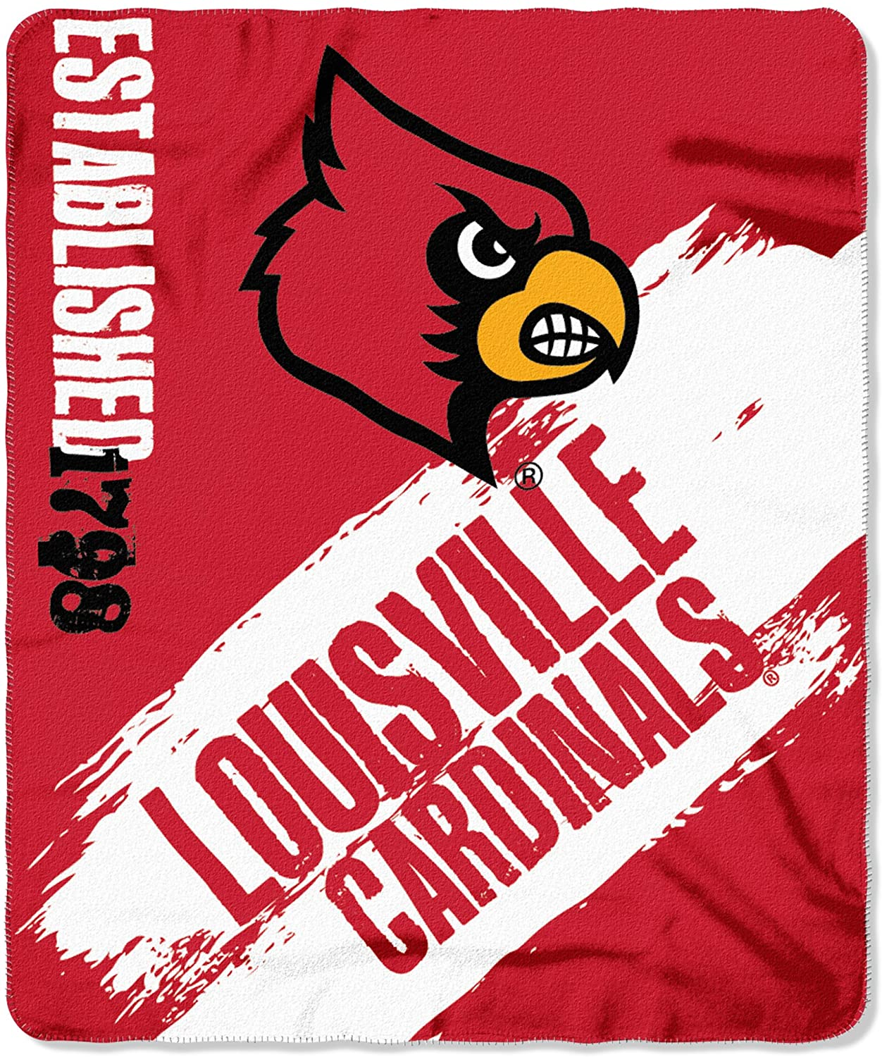 Officially Licensed Ncaa Printed Throw Louisville Cardinals Fleece Blanket