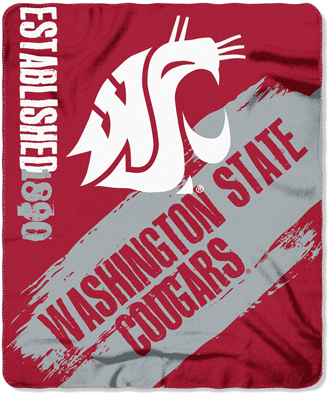 Officially Licensed Ncaa Printed Throw Washington State Cougars Fleece Blanket
