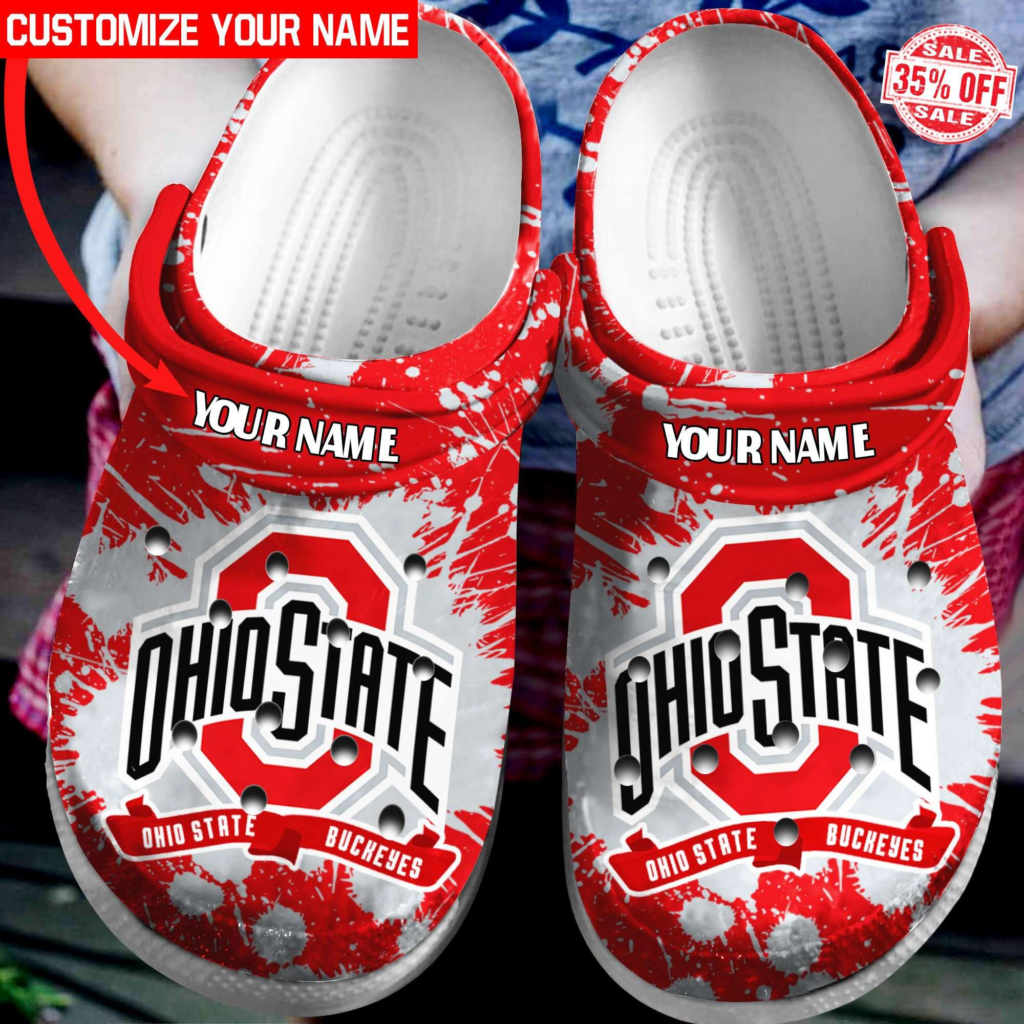 Ohio State Buckeyes Personalized Crocs Clog Shoes