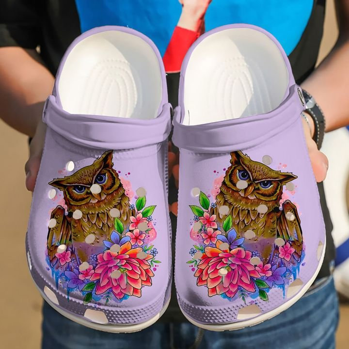Owl Horned Art Crocs Clog Shoes