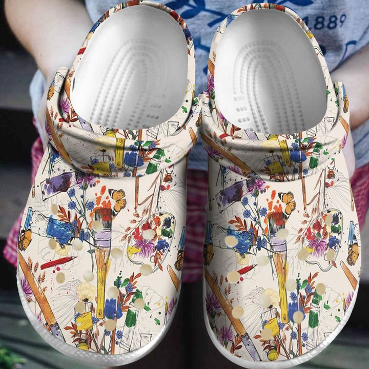 Painting Wildflower Art Crocs Clog Shoes