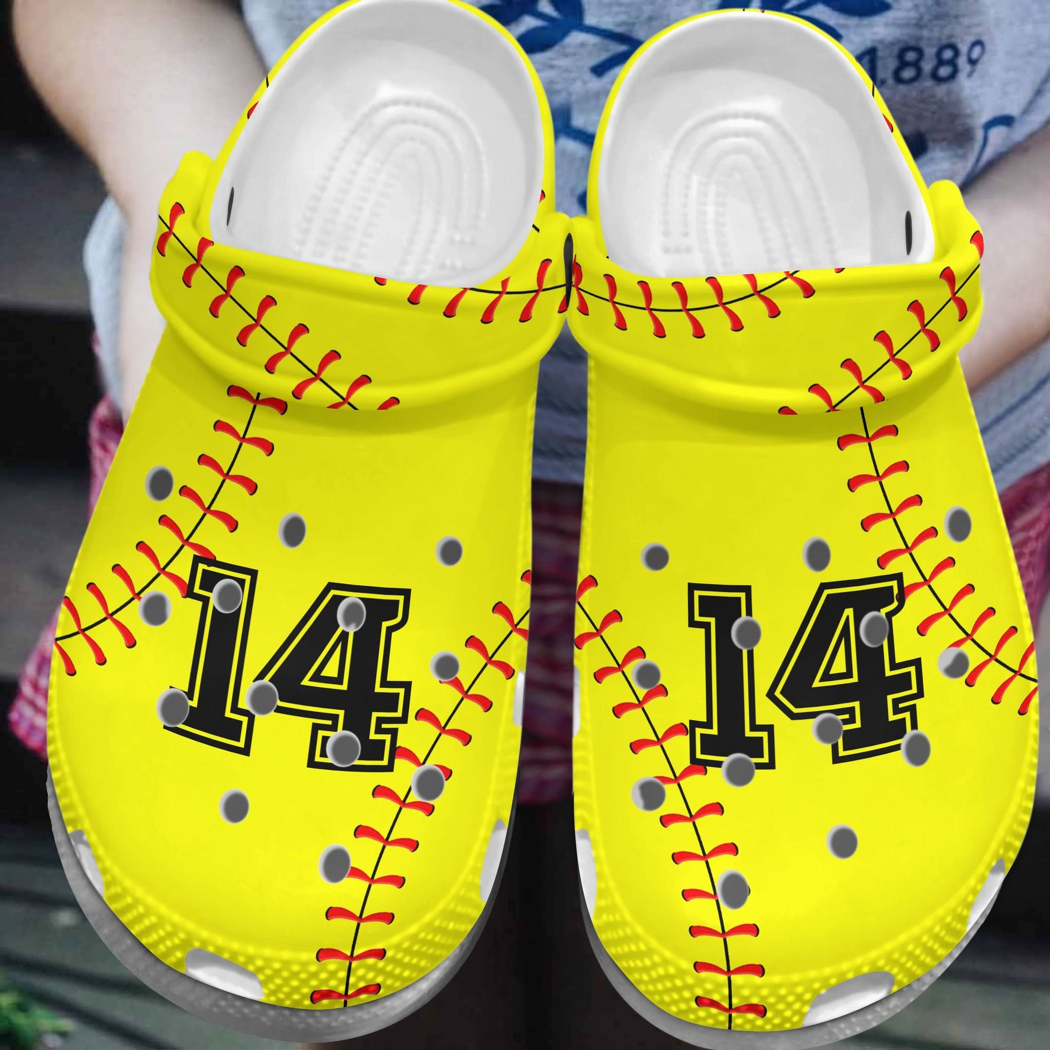 Personalized Softball Stitches Crocs Clog Shoes