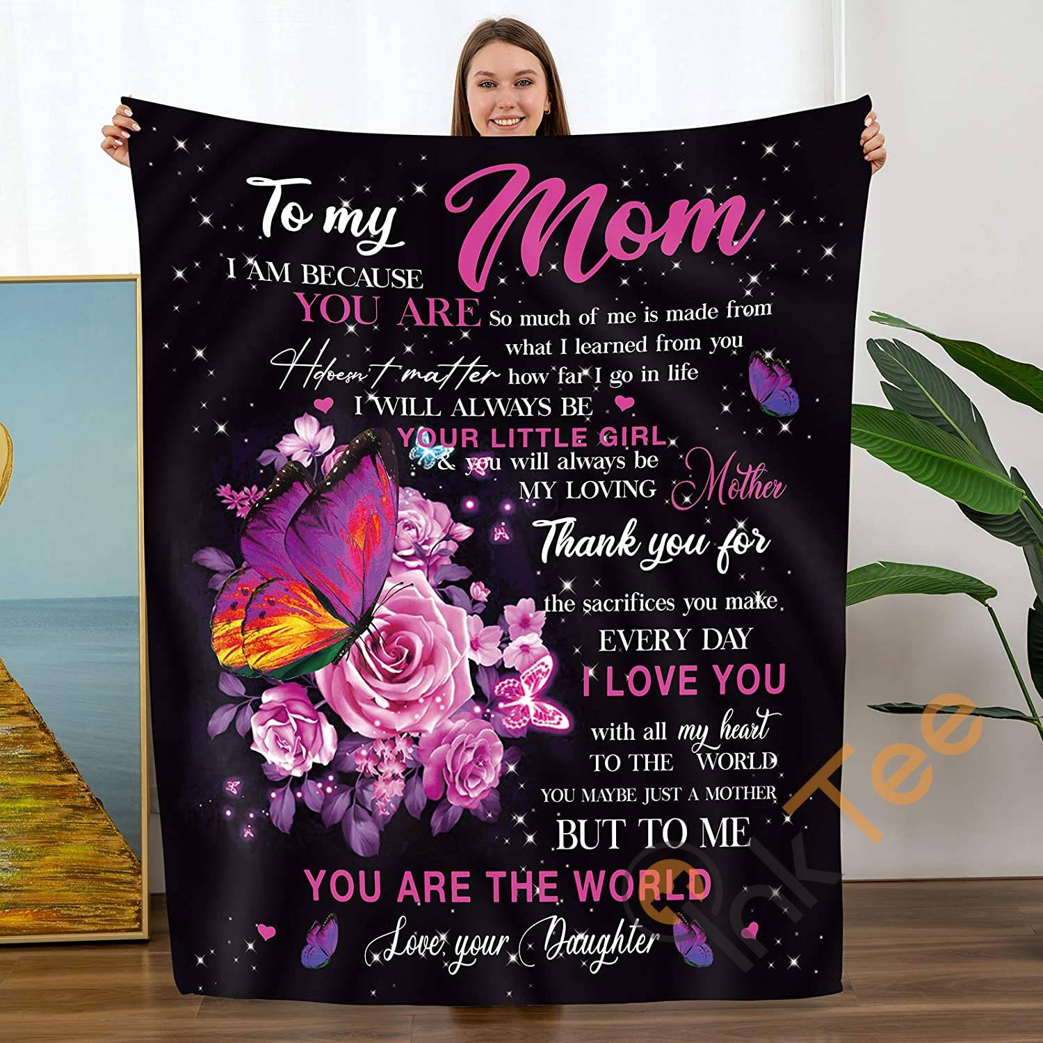 Personalized To My Mom Gift From Daughter Birthdays Soft Throw Fleece Blanket