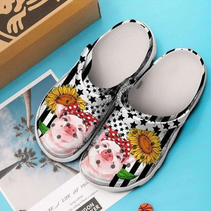 Pig Sunflower Crocs Clog Shoes