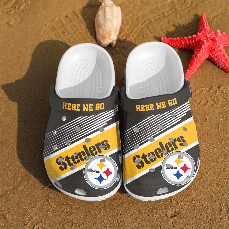Pittsburgh Steelers Here We Go Custom Crocs Clog Shoes