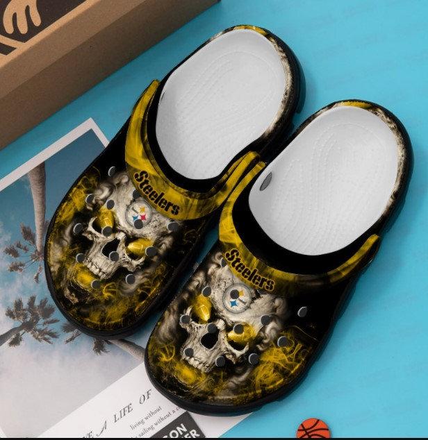 Pittsburgh Steelers Skull Crocs Clog Shoes