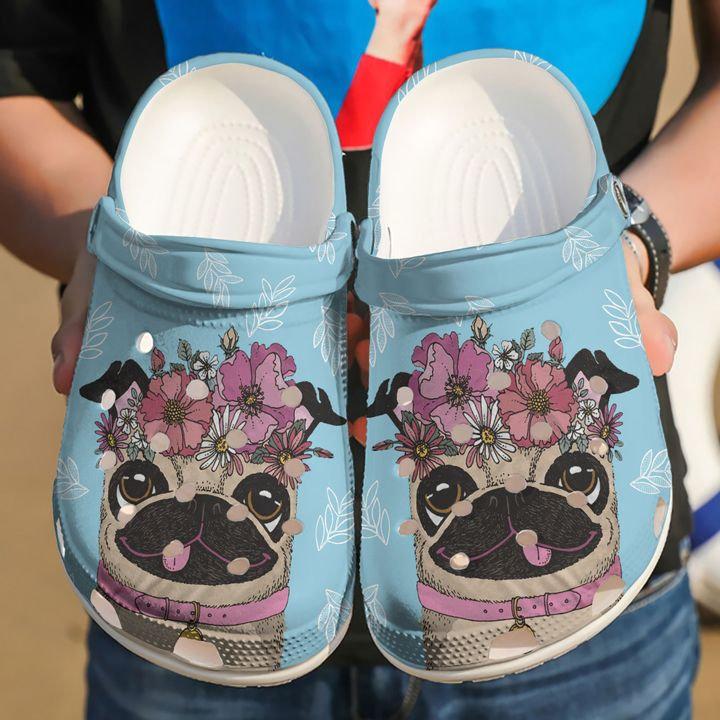 Pug Love Flower Crocs Clog Shoes