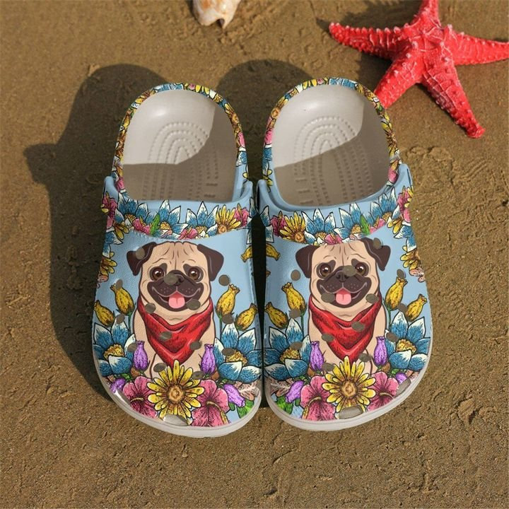 Pug With Flower Crocs Clog Shoes