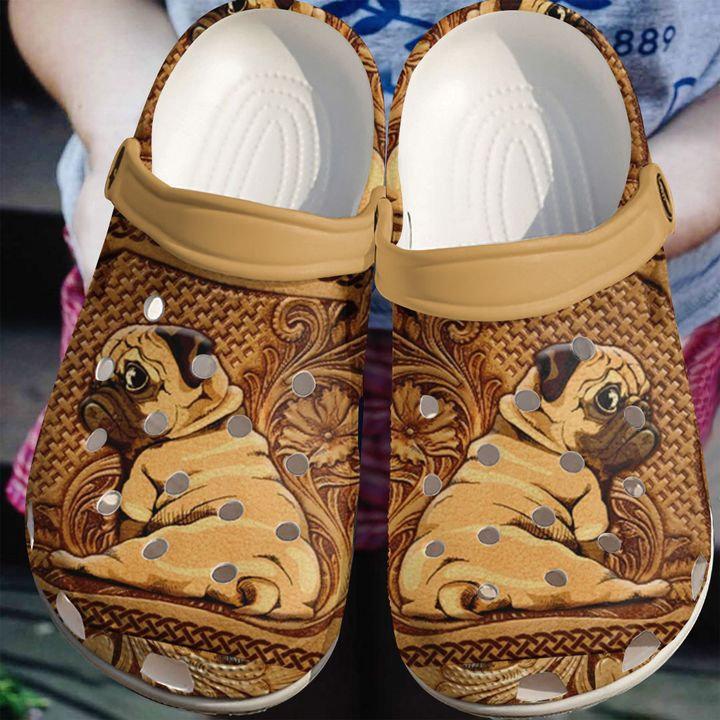 Pug Wooden Crocs Clog Shoes
